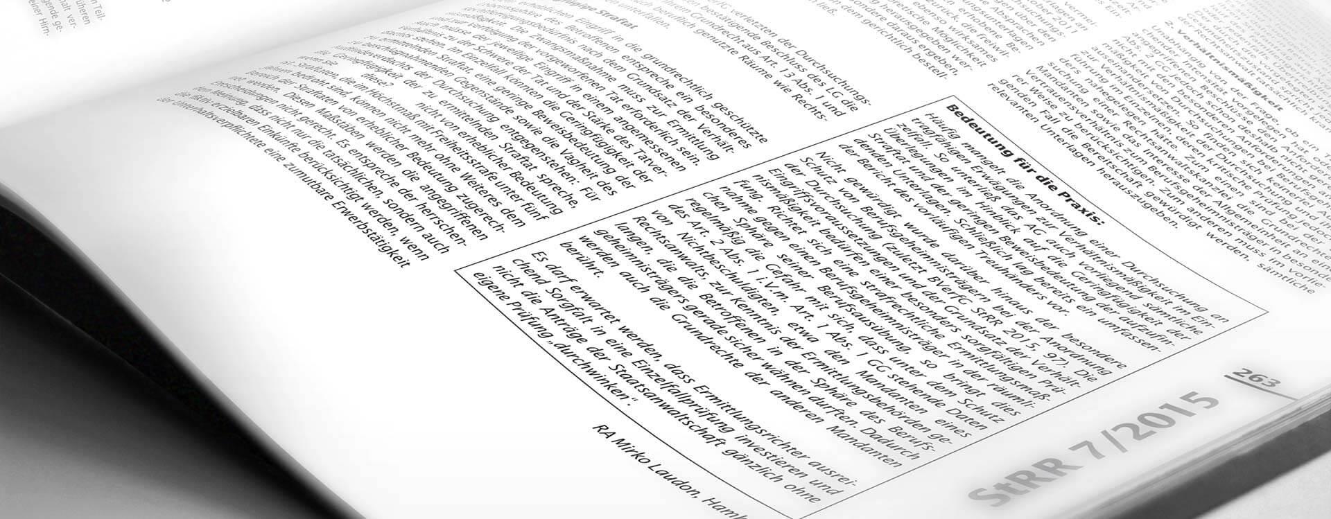 Veröffentlichungen | Durchsuchung bei geringfügiger Straftat | Rechtsanwalt Mirko Laudon ist Experte im Strafrecht und Strafprozessrecht